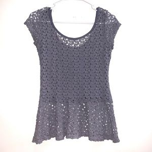 Lace Peplum Top With See Through Back